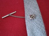 Vintage Tie Tack with Smokey Lucite Disc - 1970s (SOLD)